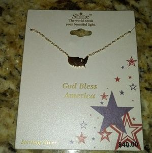 """Shine """"GOD Bless America"""" Sterling Silver Necklace"""